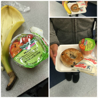 Normal school breakfast of empty calories. So happy that some students had bananas.