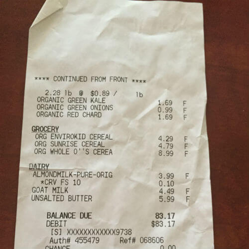 Sprouts Receipt